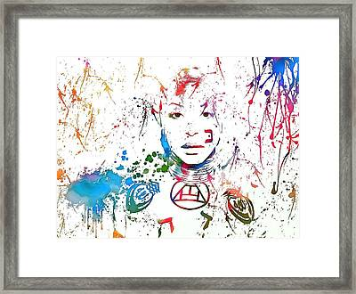 Erykah Badu Paint Splatter Framed Print by Dan Sproul