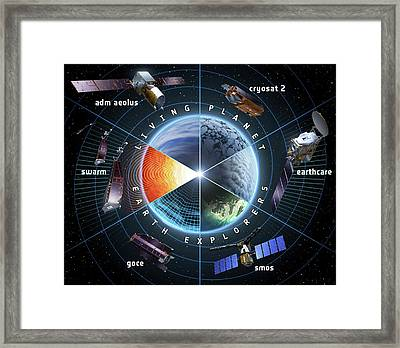 Esa Earth Explorer Satellites Framed Print by European Space Agency
