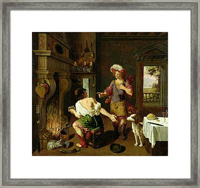 Esau Selling His Birthright To Jacob Framed Print by Michel Corneille