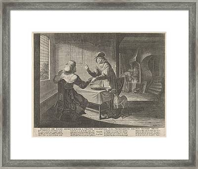 Esau Sells His Birthright To Jacob, Print Maker Anonymous Framed Print by Anonymous And Claes Jansz. Visscher Ii And Nicolaes Visscher I
