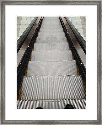 Escalator Framed Print by Les Cunliffe