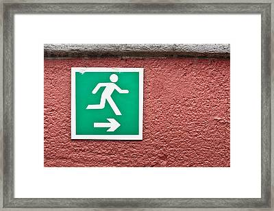 Escape Sign Framed Print by Tom Gowanlock