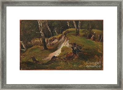 Escarpment With Tree Stumps Framed Print by Celestial Images
