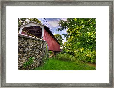 Framed Print featuring the photograph Eshelman's Mill Covered Bridge by Jim Thompson