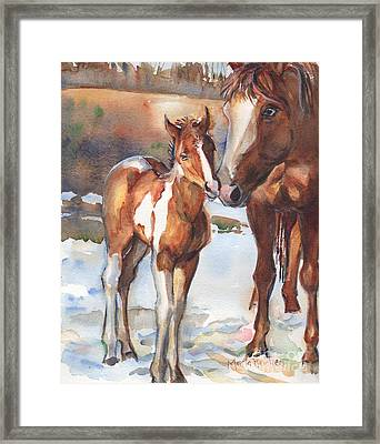 horse painting in watercolor Eskimo Kisses Framed Print