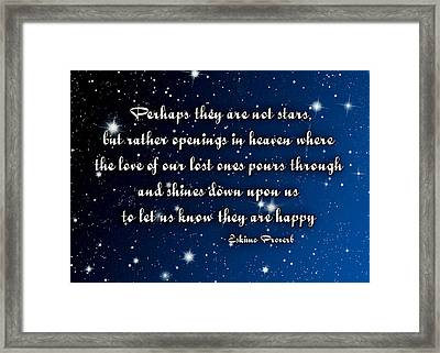 Eskimo Proverb Perhaps They Are Not Stars Framed Print