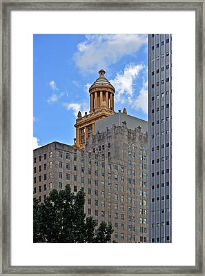 Esperson Buildings Houston Tx Framed Print