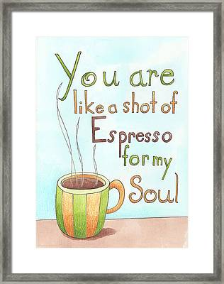 Espresso Art Framed Print by Christy Beckwith