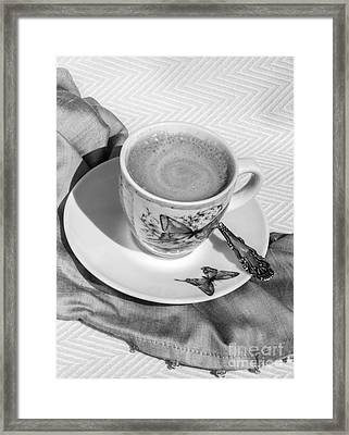 Espresso In Butterfly Cup In Black And White Framed Print
