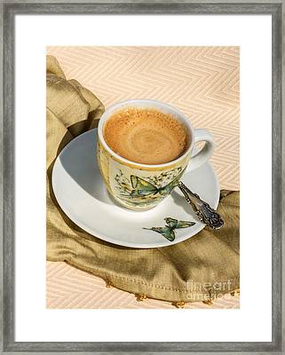 Espresso In Butterfly Cup Framed Print