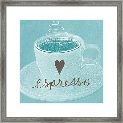 Espresso Love In Light Blue Framed Print