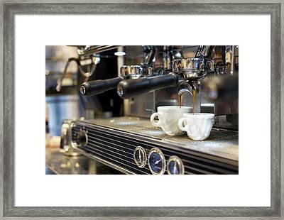 Espresso Machine Pouring Coffee Into Framed Print by Kathrin Ziegler