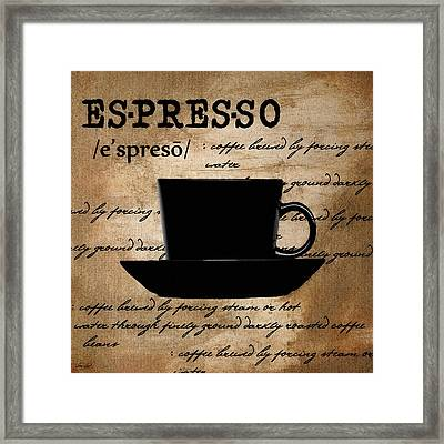 Espresso Madness Framed Print by Lourry Legarde