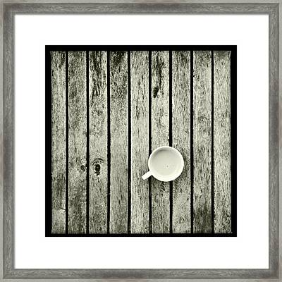 Espresso On A Wooden Table Framed Print