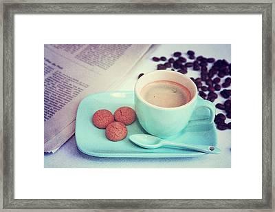 Espresso Time Framed Print by Angela Bruno