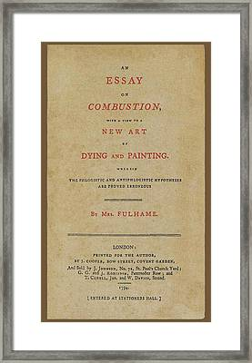 Essay On Combustion Framed Print by Sheila Terry