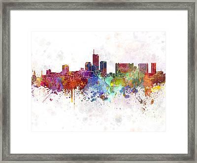 Essen Skyline In Watercolor Background Framed Print