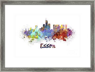 Essen Skyline In Watercolor Framed Print