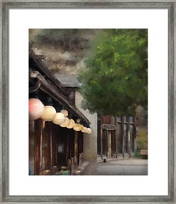Framed Print featuring the painting Estes Park Downtown by Patricia Lintner