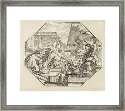 Esther Before King Ahasuerus, Jacob De Wit Framed Print