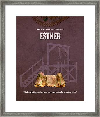 Esther Books Of The Bible Series Old Testament Minimal Poster Art Number 17 Framed Print by Design Turnpike