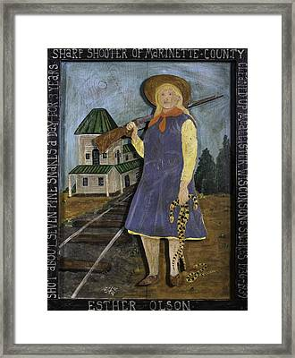 Framed Print featuring the painting Esther Olson - Sharp Shooter by Eric Cunningham