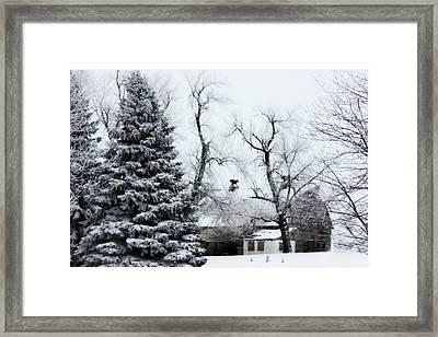 Estherville Barn Framed Print by Julie Hamilton
