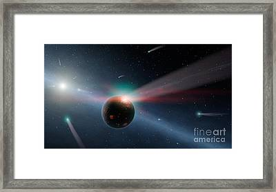 Eta Corvi, Storm Of Comets Framed Print by Science Source