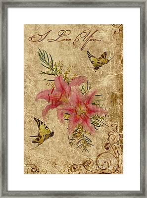 Eternal Love Message Framed Print by Olga Hamilton