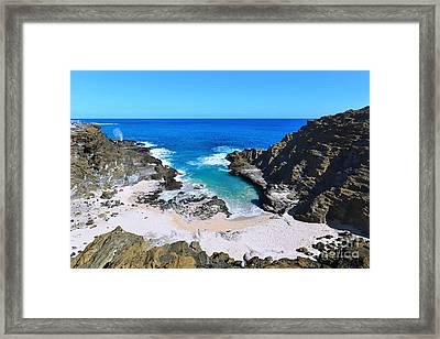 Eternity Beach And The Halona Blowhole Framed Print by Aloha Art