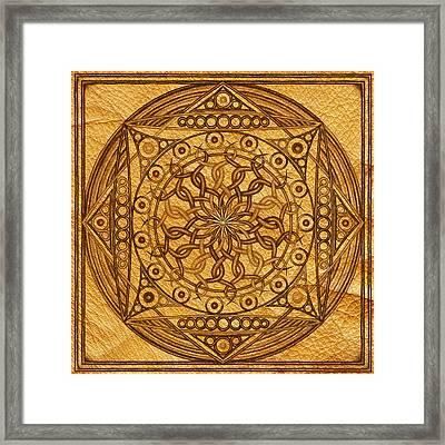 Eternity Mandala Leather Framed Print by Hakon Soreide