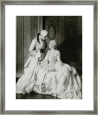 Ethel Barrymore And Henry Daniel In Costume Framed Print by Francis Bruguiere