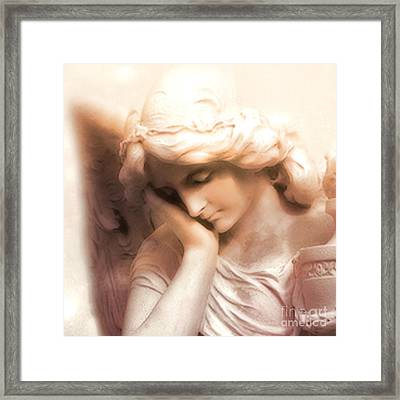 Ethereal Angel Art - Dreamy Surreal Peaceful Comforting Angel Art Framed Print by Kathy Fornal