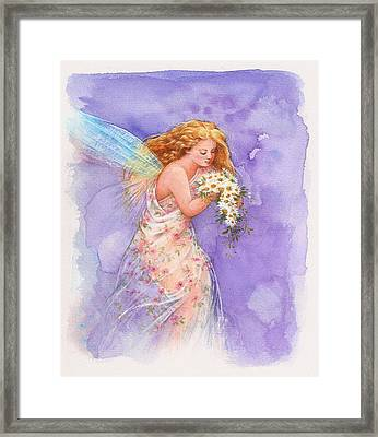 Ethereal Daisy Flower Fairy Framed Print