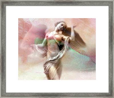 Ethereal Dreaming Angel Art - Fantasy Angel Wings Pastel Painted Angel Art Framed Print by Kathy Fornal
