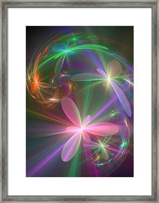 Framed Print featuring the digital art Ethereal Flowers Dancing by Svetlana Nikolova