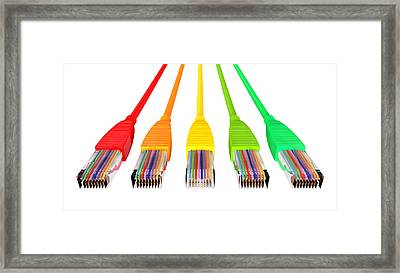 Ethernet Cables Unplugged Colors Pointing Forward Top Framed Print by Allan Swart