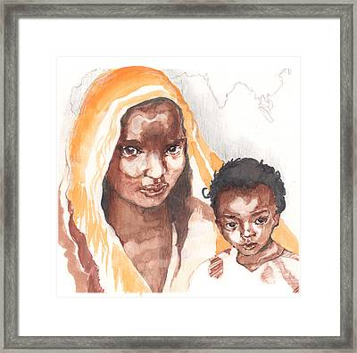 Ethiopean Mother And Child Framed Print by Nancy Watson