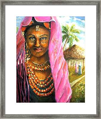 Framed Print featuring the painting Ethiopia Bride by Bernadette Krupa