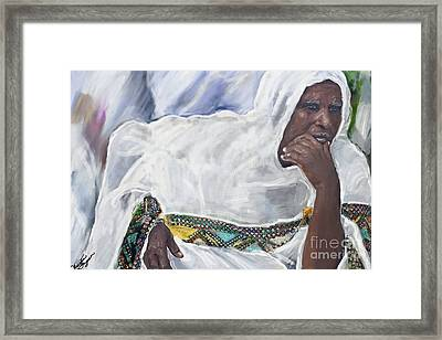 Framed Print featuring the painting Ethiopian Orthodox Jewish Woman by Vannetta Ferguson