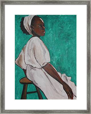 Ethiopian Woman In Green Framed Print