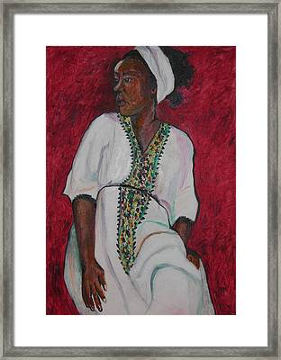 Ethiopian Woman In Red Framed Print by Esther Newman-Cohen