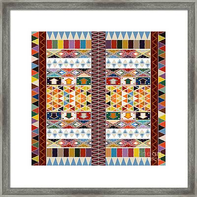 Ethnic Carpet Design Framed Print by Richard Laschon