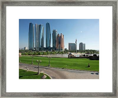Etihad Towers And Other Tall Buildings Framed Print by Panoramic Images