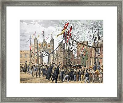 Eton Schools And The Boys Arch - Visit Framed Print by Robert Charles Dudley