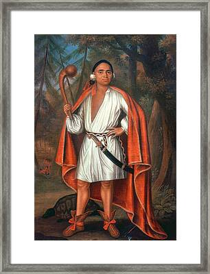 Etow Oh Koam, King Of The River Nations, 1710 Oil On Canvas Framed Print by Johannes or Jan Verelst