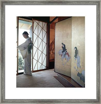 Etsuko Price At The Front Door Framed Print by Horst P. Horst