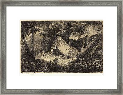 Eugène Bléry, French 1805-1887, Les Roches Blanches White Framed Print