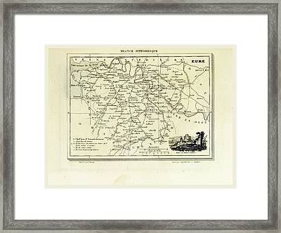 Eure, France Pittoresque, Map Framed Print