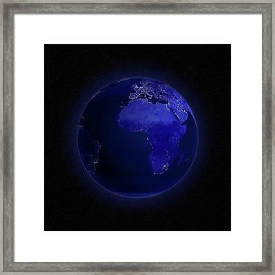 Europe And Africa At Night, Artwork Framed Print by Andrzej Wojcicki